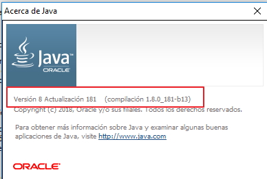 find Java version in the about section