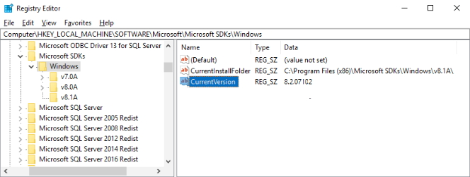 Check Microsoft SDK version